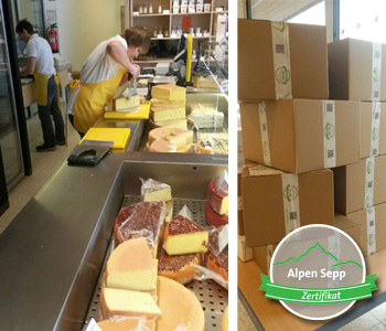 Fresh cheese cutting and packaging from the cheese wheel