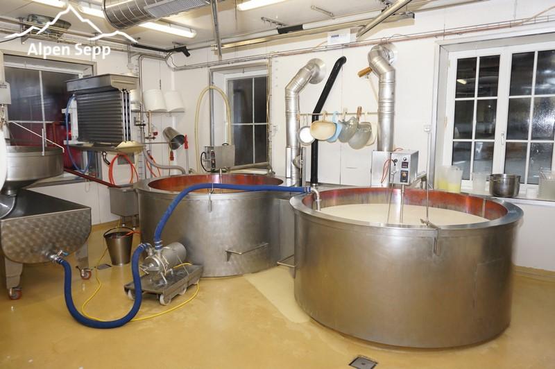 Copper boiler in the alpine dairy