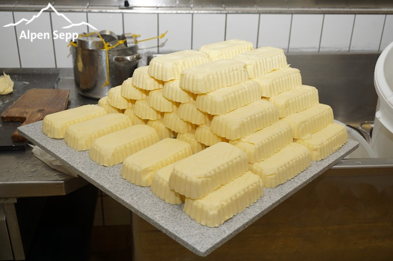 Fresh butter mountain ready for packaging