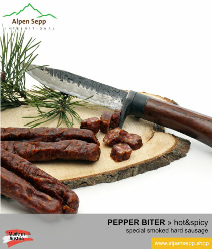 Hand made pepper biter sausage - hot & spicy hard sausage specialty