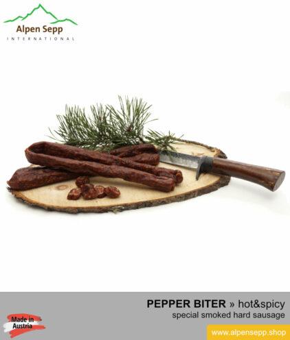 Artisanal pepper biter sausage - hot & spicy hard sausage specialty