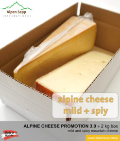 Alpine cheese promotion test box - mountain cheese mild + spicy