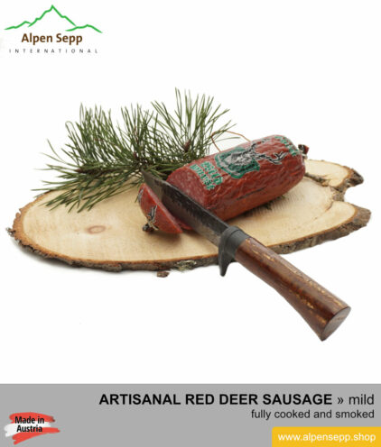 Red deer sausage specialty - from alpine game