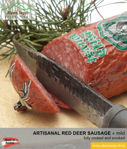 Artisan red deer sausage - cooked and smoked