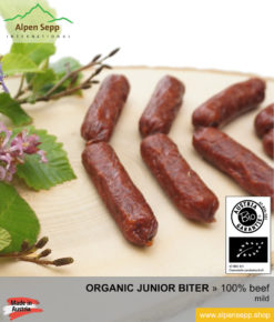Hand made ORGANIC BEEF junior biter sausage - 100% beef meat