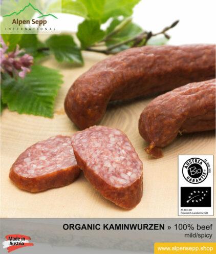 ORGANIC DRY SAUSAGE KAMINWURZEN - 100% beef meat