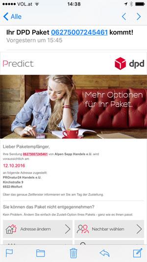 Info-Mail vom DPD Predict