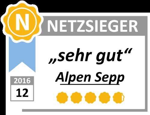 """Test rating """"Very good"""" for Alpen Sepp by netzsieger.de"""