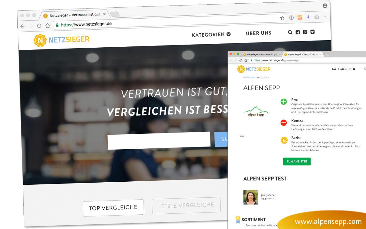 "Rating ""Very good"" for Alpen Sepp from netzsieger.de"