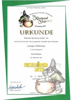 Kasermandl 1 place gold medal