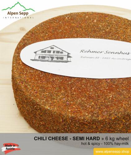 Chili cheese wheel - 6 kg cheese wheel - spicy
