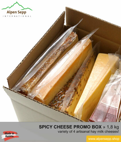 Spicy cheese promo box - 4 different alps cheeses